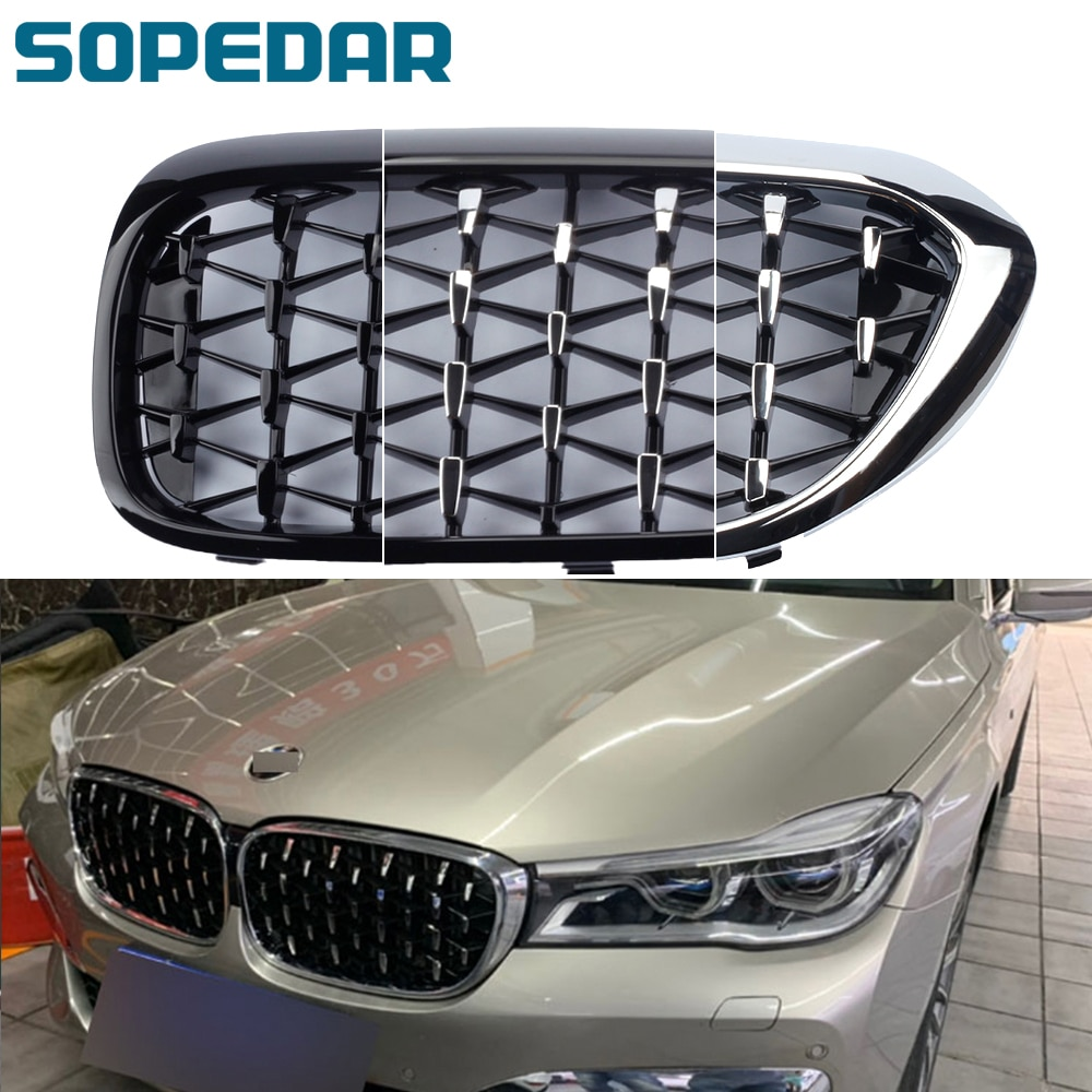 2pcs car racing grille for hyundai solaris 2 grill 2016 2018 emblems abs radiator sliver chrome front bumper upper replacement Car ABS Diamond Front Bumper Grille Overlay Kidney Racing Grilles For BMW 5 Series G30 2017-2020 Auto Grill Style Replacement