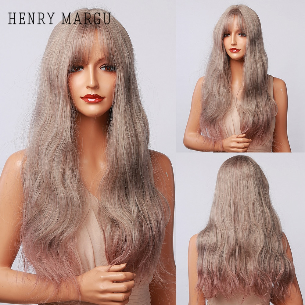 HENRY MARGU Long Wavy Ombre Blonde Gray Wigs for Women Synthetic Natural Wig with Bangs Cosplay Heat Resistant Hair Wigs