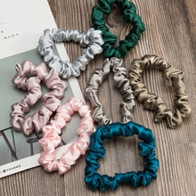 100% Pure Silk Skinnies Scrunchie Hair Bow Ties Ropes Bands Scrunchy Elastics Ponytail Holders for W