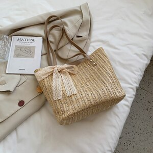 New Fashion Bowknot Ladies Shoulder Bag Large Capacity Straw Weave Ladies Handbag Small Fresh Striped Ladies Shoulder Bag