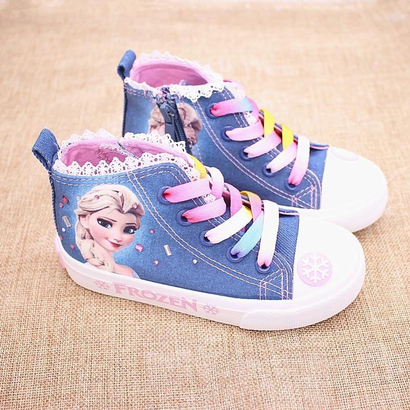 Niñas congelados elsa princesa zapatos de lona de los niños bajo de zapatillas de deporte de dibujos animados suave zapatos casuales zapatos