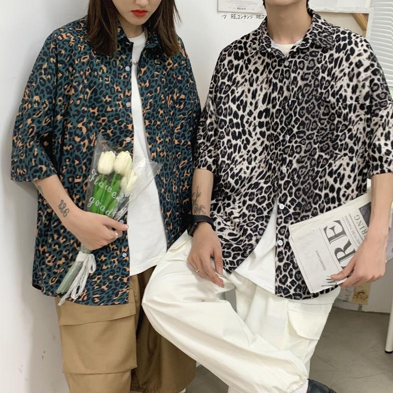 Летняя леопардовая рубашка мужская корейская мода Повседневная рубашка мужская Свободная рубашка Мужская Уличная одежда хип-хоп Мужская р...