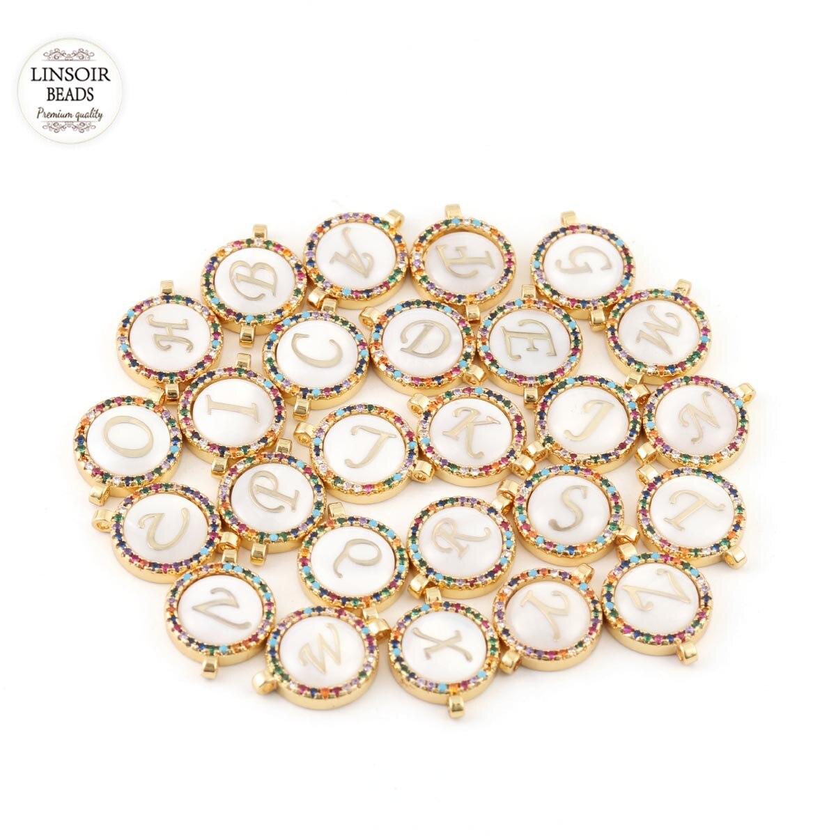 2 pçs/lote cobre encantos incrustados colorido zircônio duplo pendurado pingentes para diy pulseira jóias fazendo 26 letras opcional