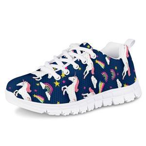 HYCOOL Children Lightweight Running Shoes Stars Rainbow Unicorn Print School Girl Mesh Sneakers Kids Casual Sport Footwear