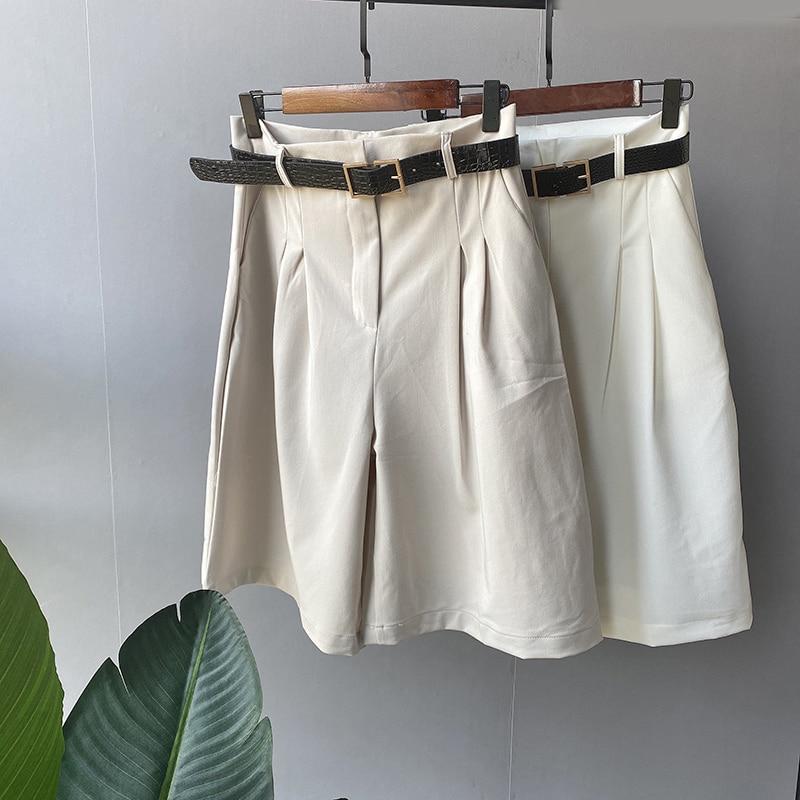 Lizkova Fashion Knee Length Pants Women High Waist Wide Leg Pants With Belt 2020 Summer Korean Casual Holiday Trousers