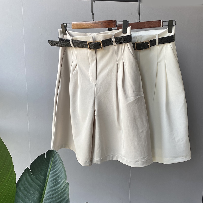 Lizkova pantalones a la moda hasta la rodilla para mujer, pantalones de pierna ancha de cintura alta con cinturón, pantalones coreanos de verano 2020 para vacaciones
