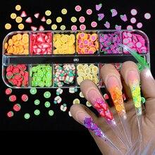12 couleurs/boîte 3D fruits minuscules tranches autocollant Style mixte polymère argile Nail Art décoration bricolage conçoit ongles conseils Gel accessoires