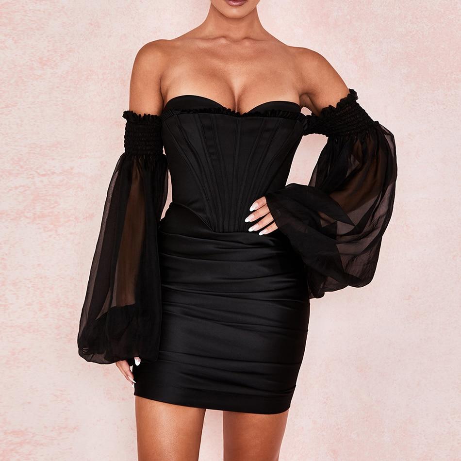 CIEMIILI sexy sin tirantes negro sólido farolillo con malla manga mujer vestido 2020 otoño transparente de manga larga minivestido de fiesta de noche