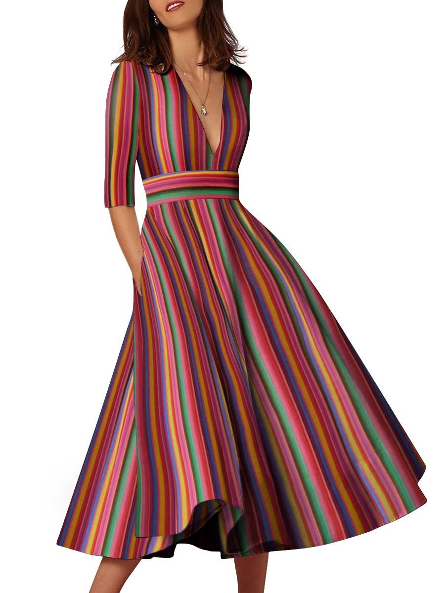 Vestido largo a rayas para oficina para mujer, Vestido playero bohemio sexi de moda con cuello de pico, Vestido de pasarela de media manga para primavera