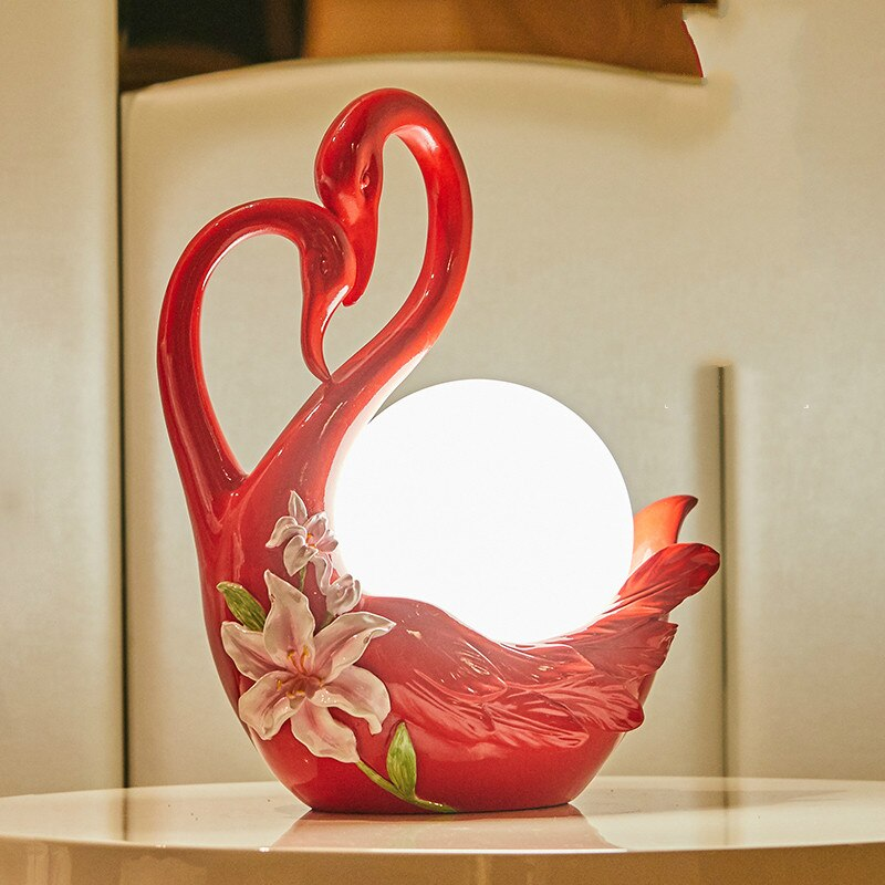 2020 creativa lámpara de mesa de boda Sala de bodas dormitorio mesita de noche lámpara Cisne escritorio Lámpara de mesa decorativa regalo de Navidad usb