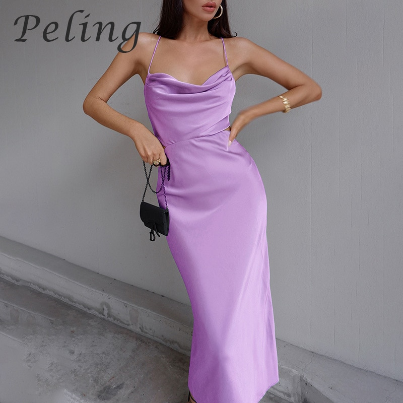 Peling Trend Fashion Summer 2021 New Sexy Dresses For Women Lace Up Halter Backless Long Satin Dress Hollow Out Bandage Vestidos