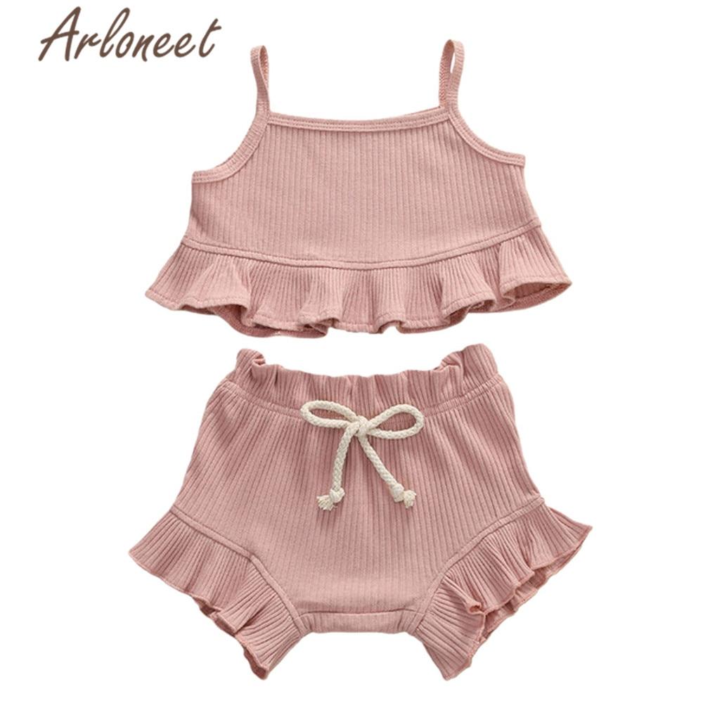Arloneet roupas crianças do bebê meninas babados t camisa sem mangas shorts de algodão duas peças roupas toddle meninas verão conjunto
