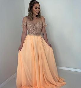 2020 New Evening Dress Champagne Sweetheart Floor Length Chiffon Lace Appliques For Women Party Dresses Formal Gowns Elegant