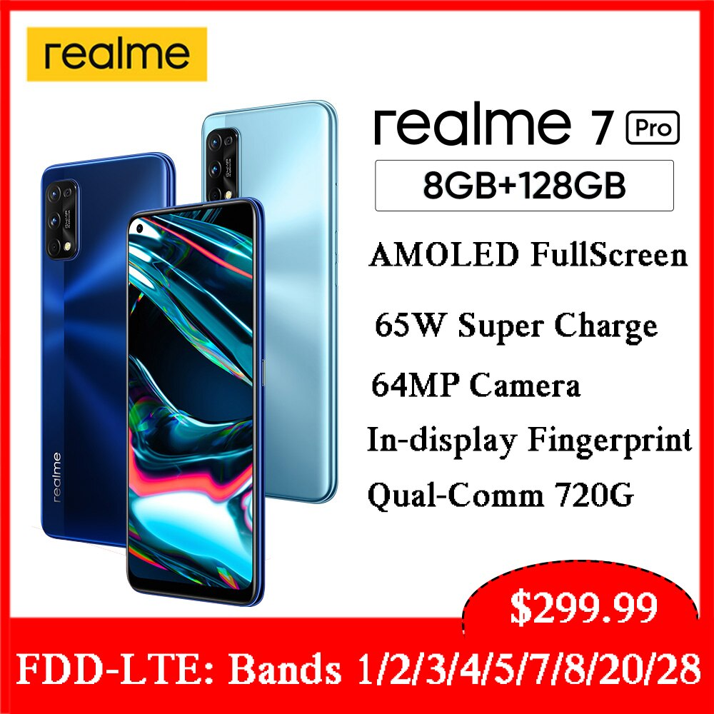 Перейти на Алиэкспресс и купить Глобальная версия Realme 7 Pro смартфон NFC 6,4 Super AMOLED дисплей Мобильный телефон 65 Вт Быстрая зарядка 64 мп AI Quad Camera