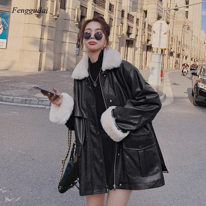 Motorcycle Fur Coat Women's Middle and Long Model 2020 Winter New Korean Loose Lambskin Cotton Garment Imitation Fur enlarge