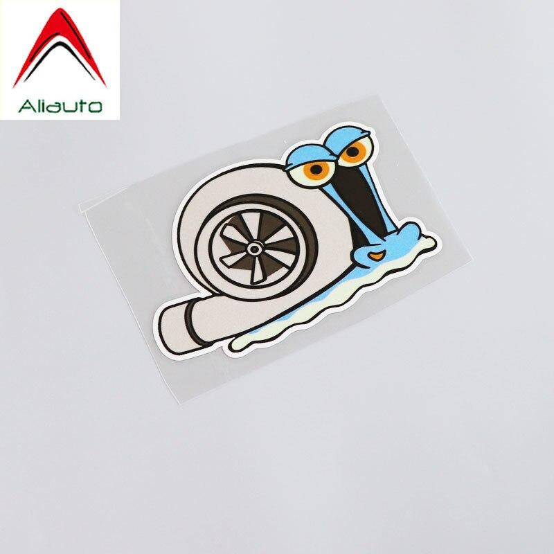 Calcomanía divertida Calcomanía para automóvil de dibujos animados Aliauto, pegatina de PVC de estilo Animal Caracol, impermeable para Skoda Mini Cooper Kia Ford Focus, 12cm * 8cm