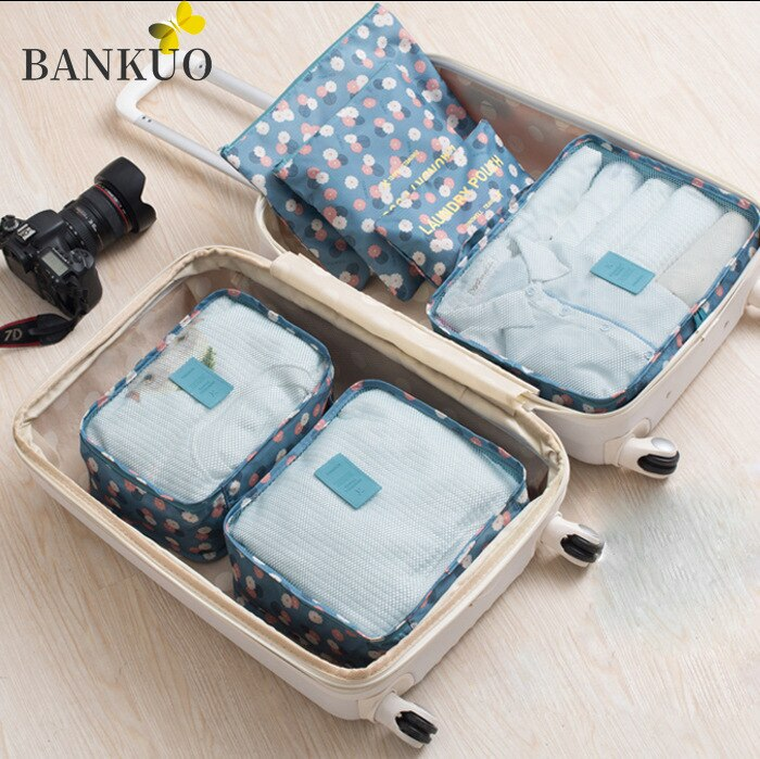 BANKUO 6 Pieces Set Travel Organizer Storage Bags Suitcase Packing Set Storage Cases Portable Luggage Organizer Tidy Pouch Z357