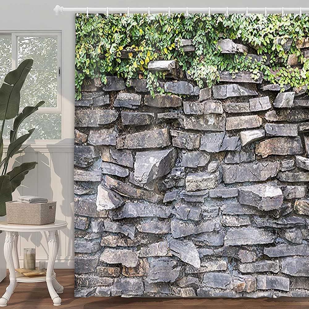 Каменная кирпичная стена для душа, занавеска из плюща, с зелеными листьями, для скалолазания по деревенскому мрамору, каменная стена, аксесс...