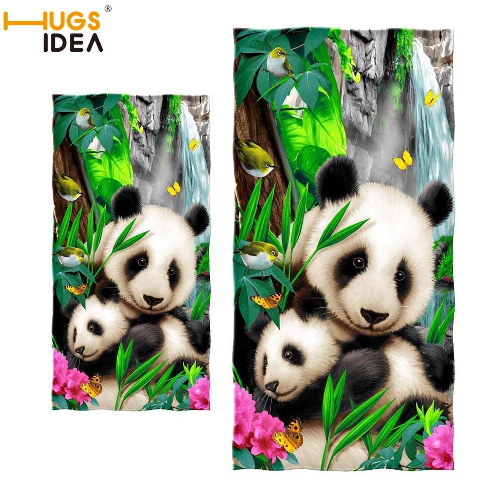 Toalla de playa HUGSIDEA Panda toallas de baño suaves Toalla de diseño Animal chino de moda Toalla de cara seca Toalla de pelo accesorios de baño
