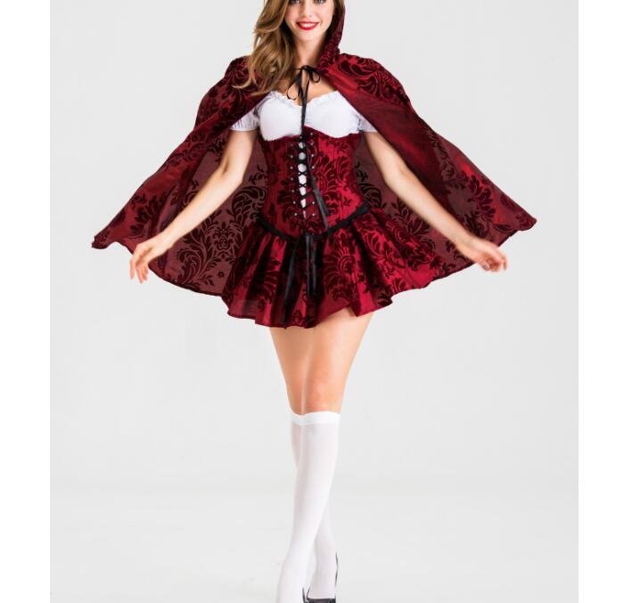 زي الرداء الأحمر للنساء البالغات ، الهالوين ، الكريسماس ، الحفلة الخيالية ، الكرنفال الخيالي ، مقاس كبير G