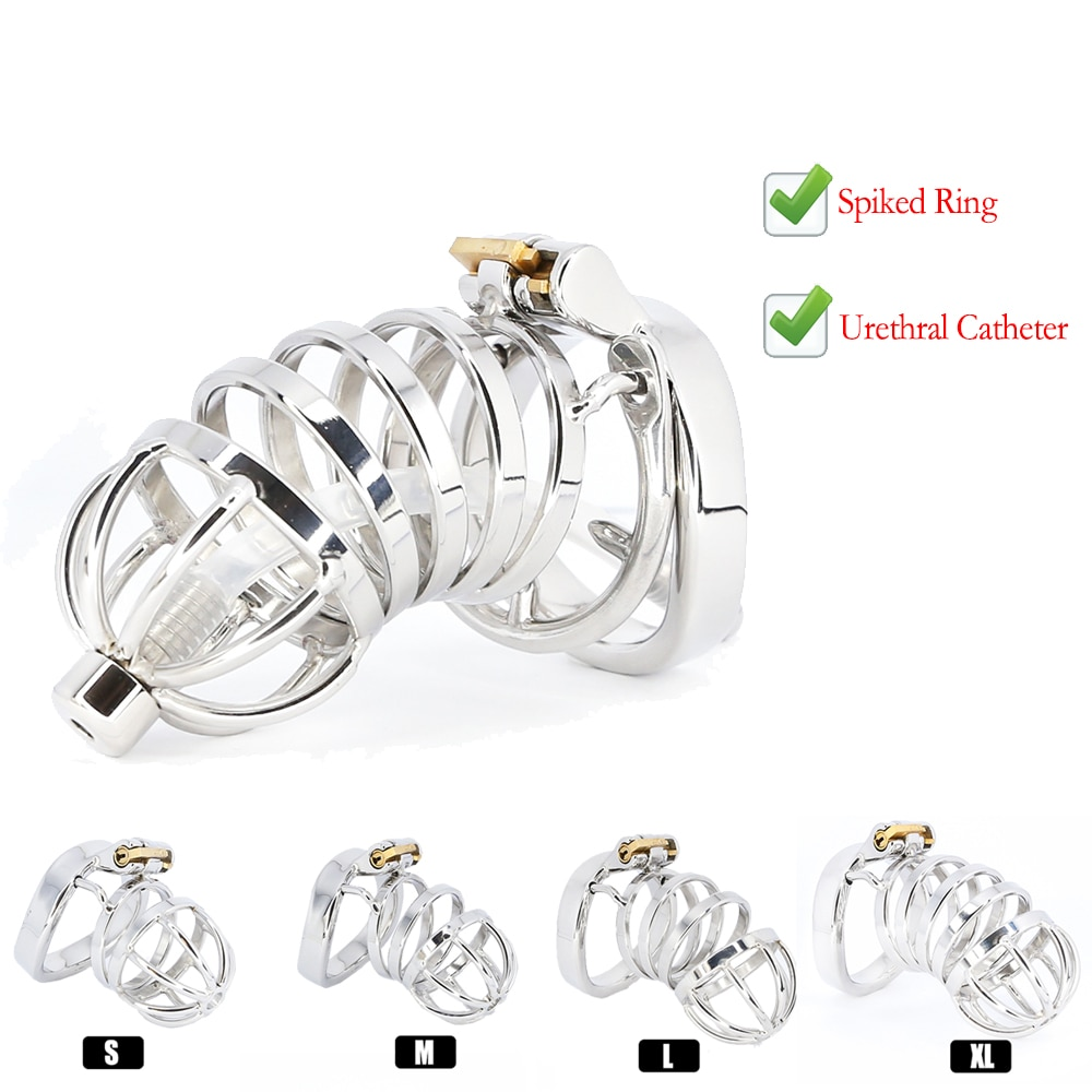 Best CBT Male Chastity Belt Device Stainless Steel Cock Cage Penis Ring Lock with Urethral Catheter Spiked Ring Sex Toys For Men gay chastity device cock cage 5 size rings sex products for men brass lock number tags sex toys cock ring male chastity belt