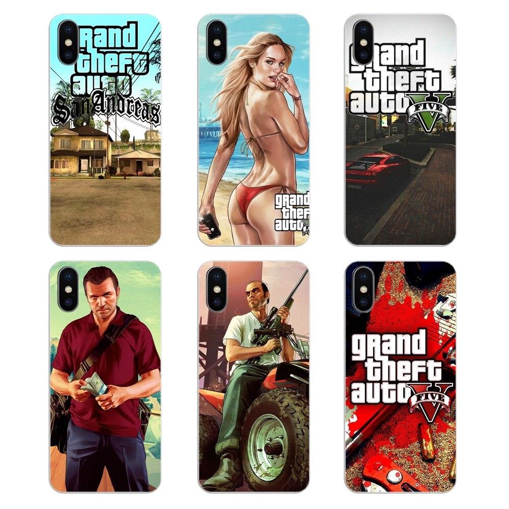 Para Huawei Honor 8 8C 8X 9 10 7A 7C Mate 10 20 Lite Pro P Smart Plus de silicona cubierta de la bolsa GTA San Andreas GTA Grand Theft Auto 5 V