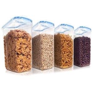 Набор контейнеров для хранения хлопьев, пластиковые герметичные контейнеры для хранения пищевых продуктов, контейнеры для закусок и сахар...