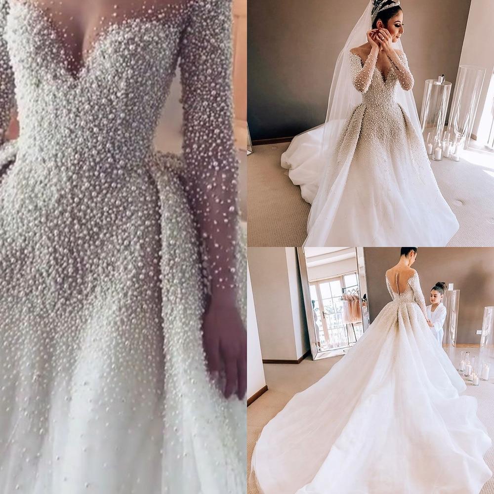 Luxury Wedding Dresses With Pearls Removable Train Bridal Gowns Mermaid Arabic Dubai Long Sleeves Ve