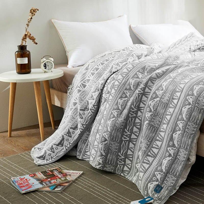 Totem-couette dété pour lit   Serviette de coton, couette fine, couette, drap de lit en gaze, couvre-lit pour lit Double reine