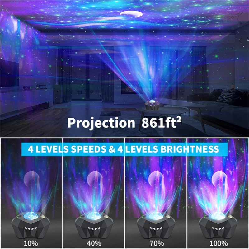 Colorful Nebula Moon Lamp Aurora Star Lights Laser Galaxy Starry Sky Ocean Wave Projector Night Light with Music Speaker Cloud enlarge