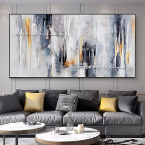 The Fashion Handpainted Brush Black White Modern Abstract Thick Unframed Oil Painting On Canvas Knife Painting Wall Art for Home