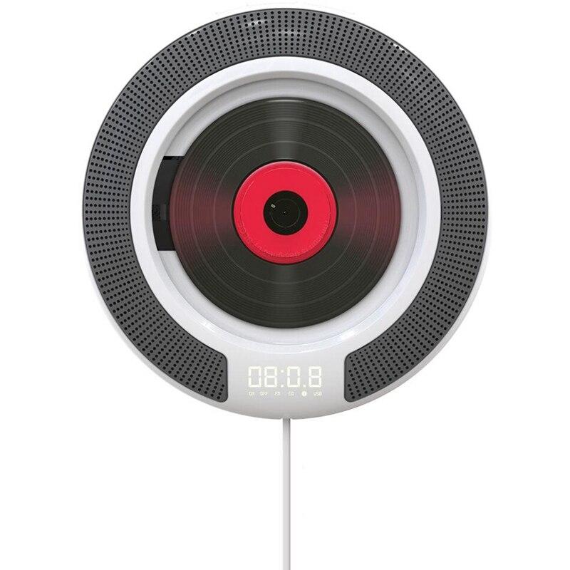مشغل أقراص مضغوطة محمول مع بلوتوث ، راديو FM قابل للتثبيت على الحائط ، مكبرات صوت HiFi مدمجة ، جهاز تحكم عن بعد ، مقبس سماعة رأس