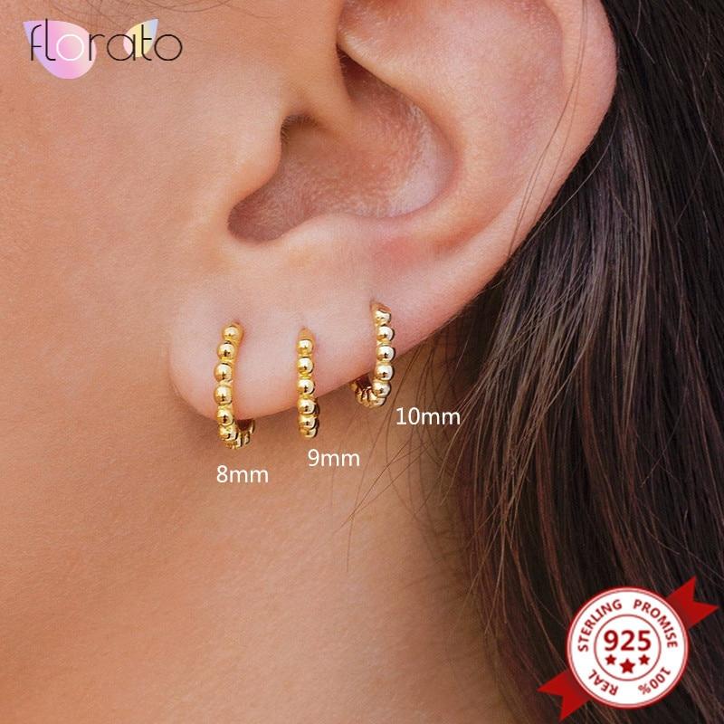 AliExpress - 10mm 9mm 8mm 925 Sterling Silver Ear Buckle Ball Hoop Earrings for Women Simple Huggie Earrings Fashion Jewelry Accessories
