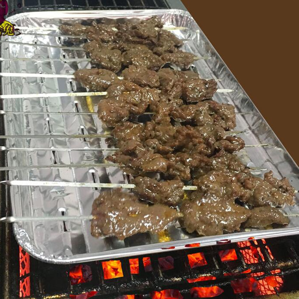 20pcs Disposable Aluminum Foil Rectangular Cake Pan Barbecue Grilling Trays