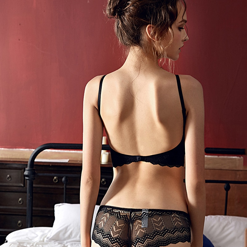 Nueva Mujer alambre libre cómodo lado colección pequeño pecho Bralette con relleno menor sin espalda hombro boda Sujetador de encaje