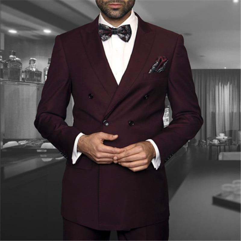 مزدوجة الصدر الرجال دعوى ل الزفاف 2 قطعة سترة بانت الأزياء يتأهل مخصص Masculino السترة سترة بانت مجموعة الرجال دعوى