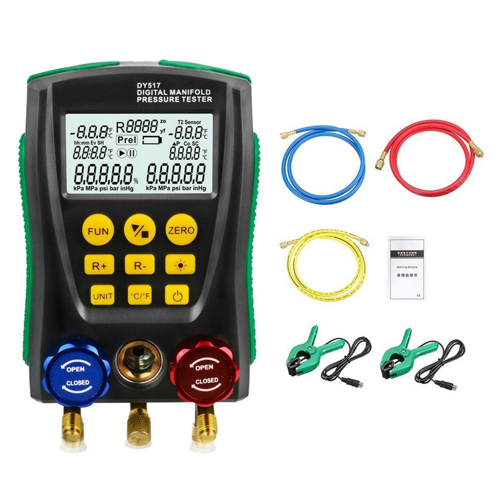 مشعب تكييف الهواء الرقمي DY517 ، مقياس الضغط للتبريد HVAC ، مقياس درجة حرارة الضغط الفراغي للسيارة والمنزل