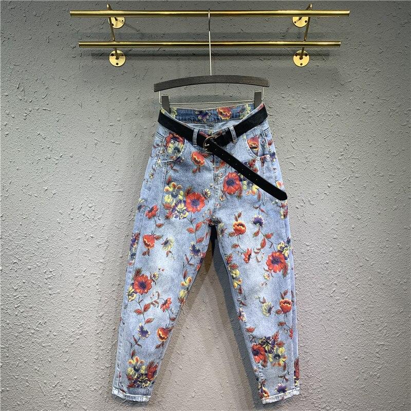 Ropa de primavera, nuevo estilo, Pantalones estampados de estilo étnico con dibujo de color, pantalones vaqueros de cintura alta, pantalones de pierna recta, pantalones Harem