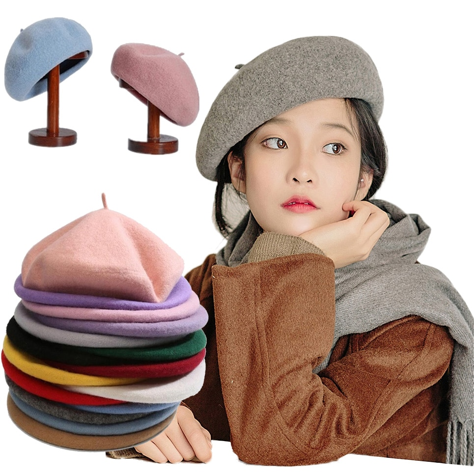 French Style Solid Casual Vintage Women's Hat Beret Plain Cap Girl's Wool Warm Winter Berets Beanie
