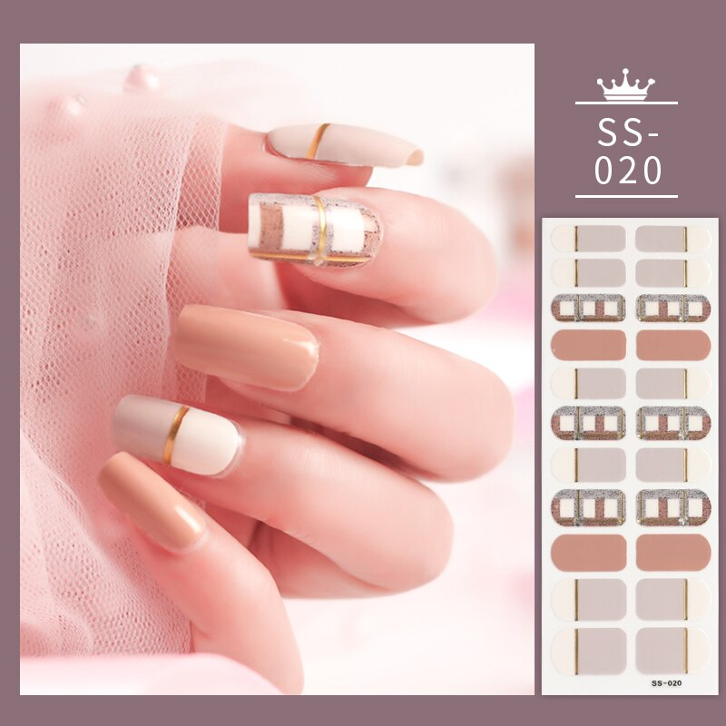 22 Tips/Sheet Glitter Series Shiny Colorful Nail Art Nail Wraps DIY Nail Accessories Nails Stickers