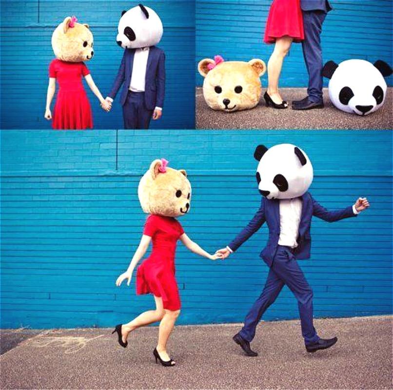 Cabezas de amante de Halloween y oso Panda disfraz de mascota vestido de lujo boda fiesta accesorios adultos Cosplay al aire libre cabeza de Mascota