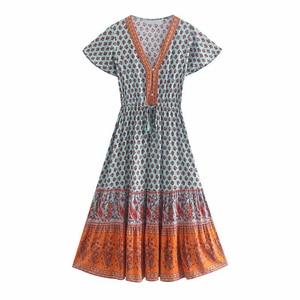 YENKYE Summer Dress Women Floral Print Boho Long Dress Female Short Sleeve Drawstring Waist A-line Casual Sundress Holiday Vesti