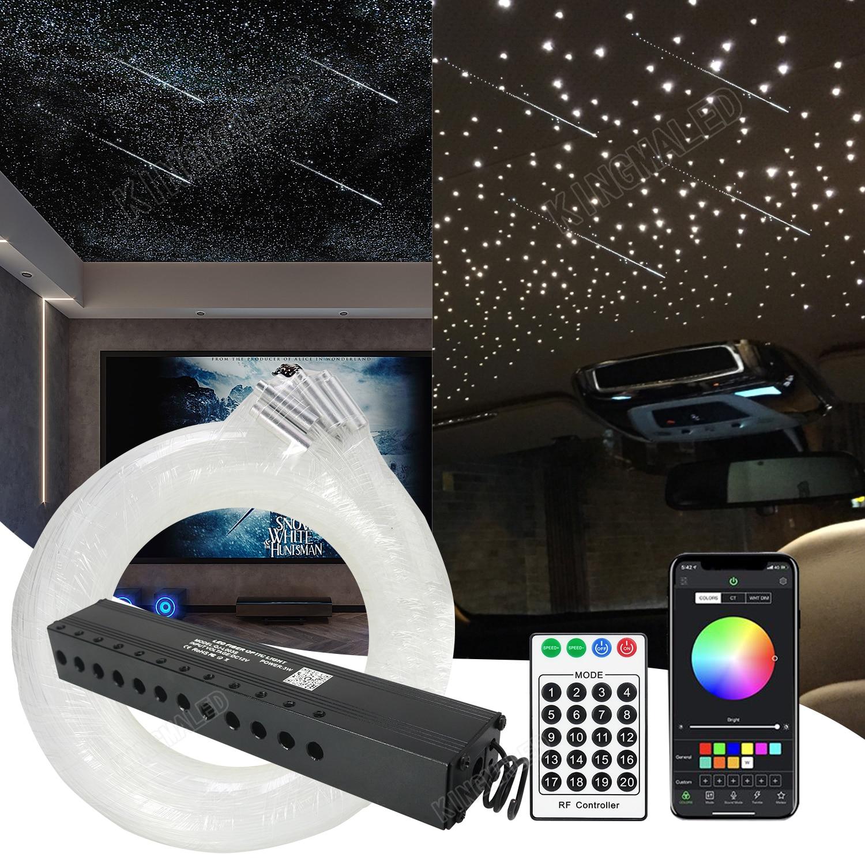 مجموعة ألياف بصرية 3 واط مع 12 فتحة لنجوم التصوير ، محرك نيزك LED مع جهاز تحكم عن بعد RF لسقف السماء المرصعة بالنجوم