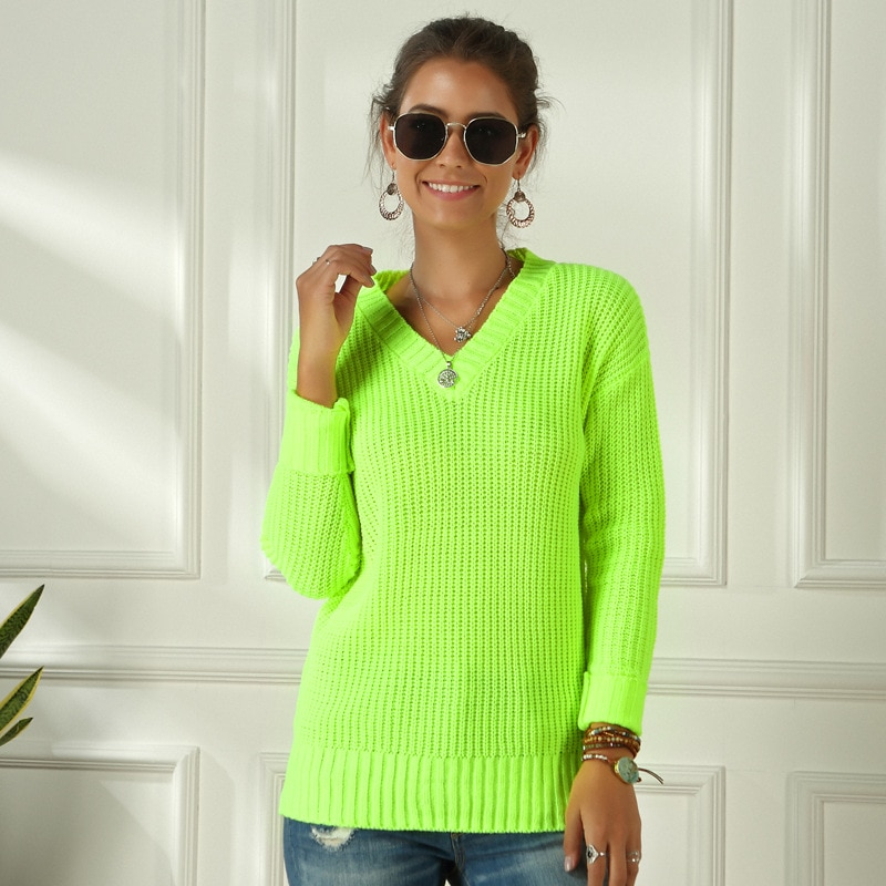 aliexpress.com - Neon Sweater Women Knitting Green Fuchsia Pink Solid V-Neck Pullovers Long Casual Loose Acrylic Knit Shirts Female Jumper Tops