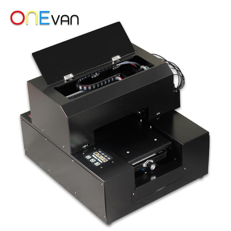 ONEVAN. Impresora UV A4 automática con soporte cilíndrico para funda de teléfono/Metal/madera/PVC impresoras UV con software RIP 9,0