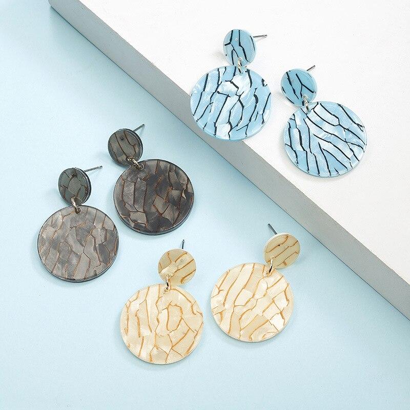 OPPOHERE Vintage Acetate Earrings Fashion Long Round Acrylic Pendant Earrings Stud Earrings
