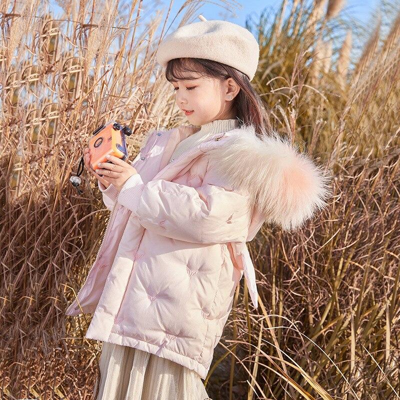 الأطفال أسفل سترة الفتيات منتصف وطويلة 2021 جديد النمط الأجنبي الطفل الأوسط والصغير الأطفال سميكة معطف الشتاء 2-8y