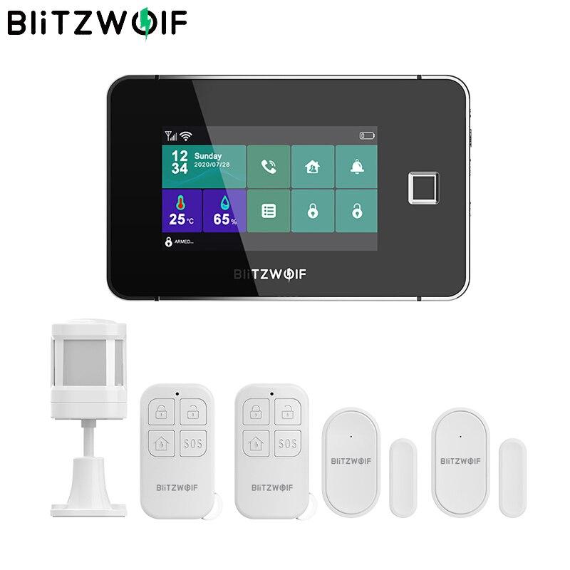 BlitzWolf BW-IS20 433Mhz 2G GSM Wifi الذكية الأمن الرئيسية إنذار نظام أطقم 4.3 بوصة بصمة إفتح تاتش شاشة الأمن المضيف