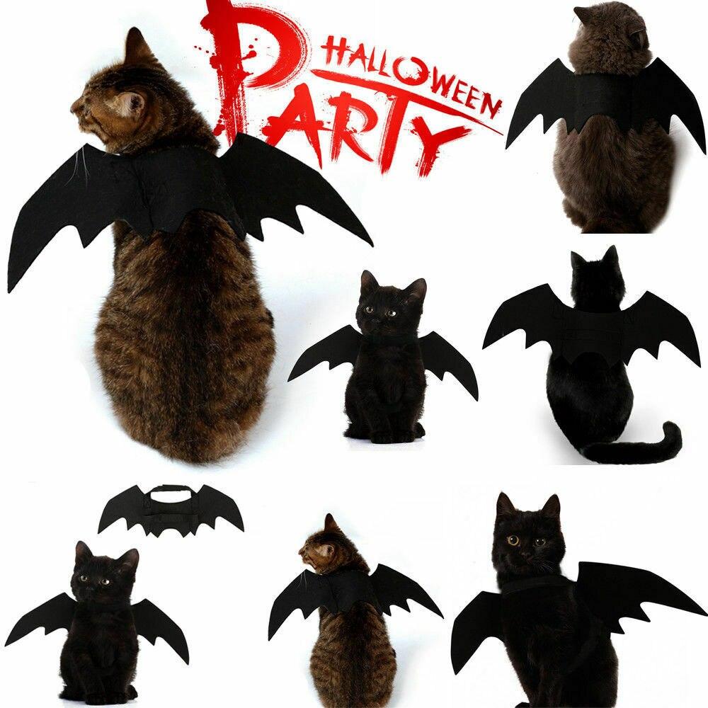 2020 nuevo perro animal Halloween trajes ropa de negro alas de murciélago regalo para mascotas vestido de vampiro negro lujo lindo de Halloween Disfraces de mascotas