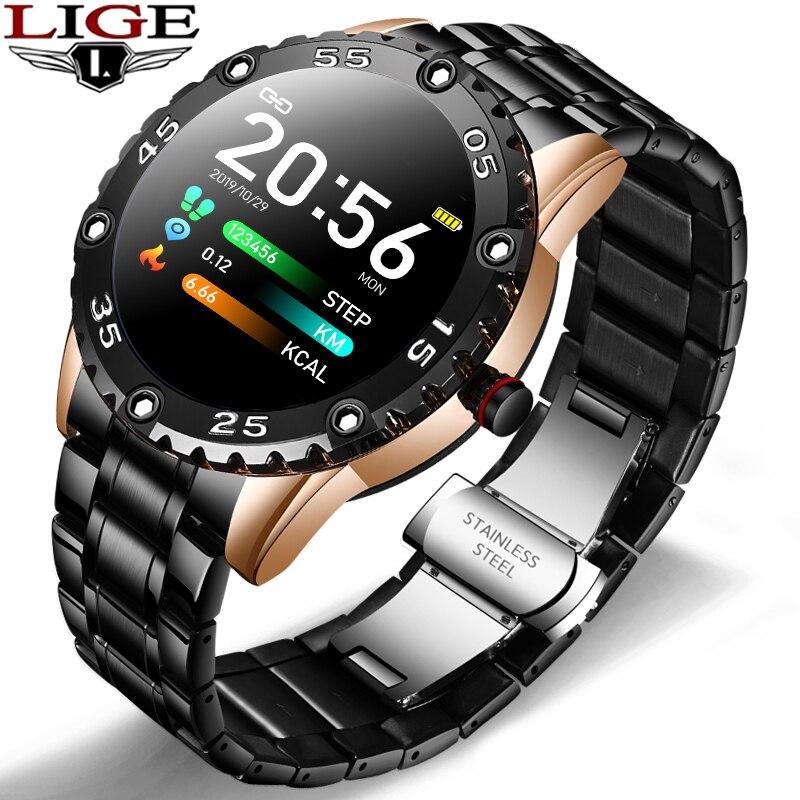 LIGE-ساعة رياضية متصلة للرجال ، مقاومة للماء حتى IP68 ، مع إشعار المكالمات ، ومراقبة معدل ضربات القلب ، لهاتف Huawei و Xiaomi و IOS